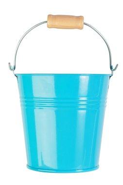 Blue, empty, home gardening bucket. Nobody.