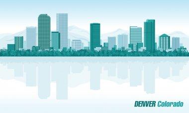 Denver Colorado detailed vector skyline