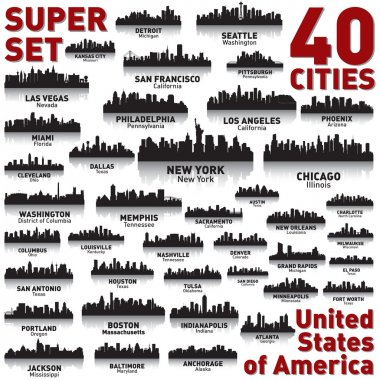 Incredible city skyline set. 40 city silhouettes of United States of America stock vector