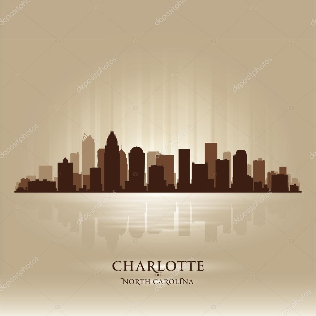 charlotte north carolina skyline city silhouette  u2014 stock