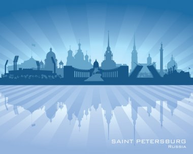 Sankt Petersburg Russia city skyline Detailed silhouette