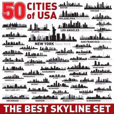 Super city skyline set. 50 vector city silhouettes of USA clip art vector
