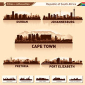 Fotografie City skyline set 5 silhouettes of South Africa