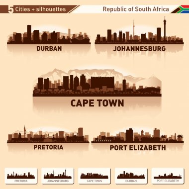 City skyline set 5 silhouettes of South Africa