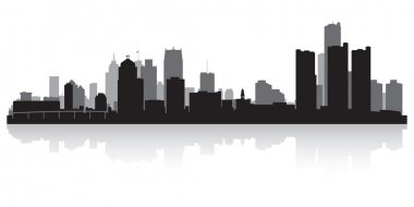 Detroit city skyline silhouette
