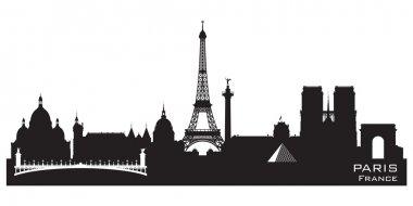 Paris France city skyline vector silhouette