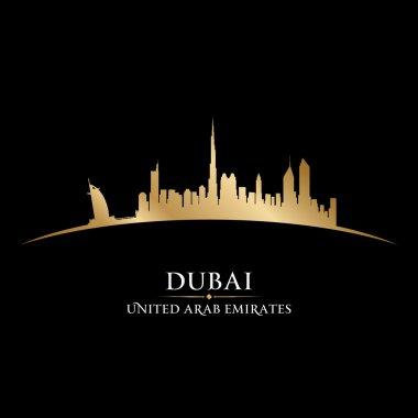 Dubai UAE city skyline silhouette black background