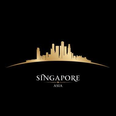 Singapore Asia city skyline silhouette black background