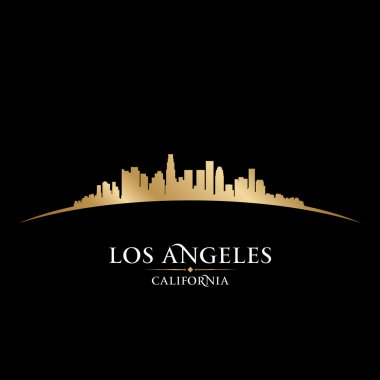 Los Angeles California city skyline silhouette black background