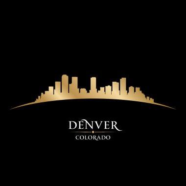 Denver Colorado city skyline silhouette black background