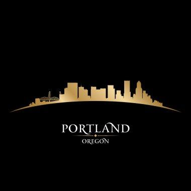Portland Oregon city skyline silhouette black background
