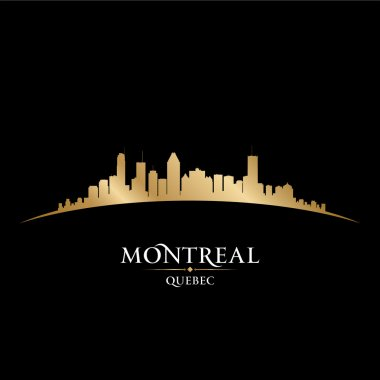 Montreal Quebec Canada city skyline silhouette black background