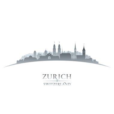 Zurich Switzerland city skyline silhouette white background