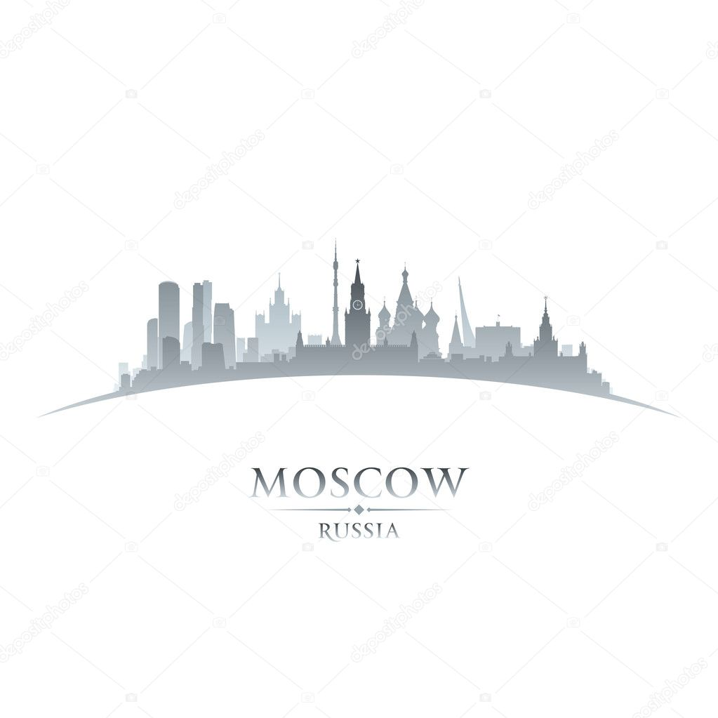 Moscow Russia city skyline silhouette white background