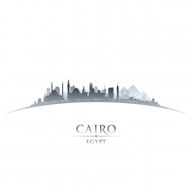 Cairo Egypt city skyline silhouette white background