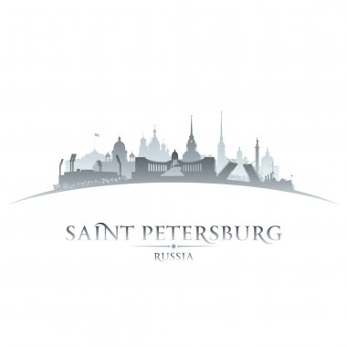 Saint Petersburg Russia city skyline silhouette white background