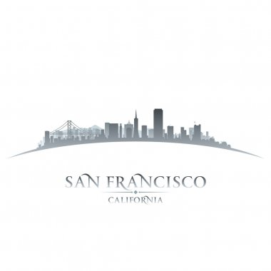 San Francisco California city skyline silhouette white backgroun
