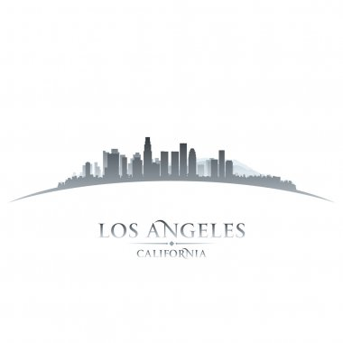 Los Angeles California city skyline silhouette white background