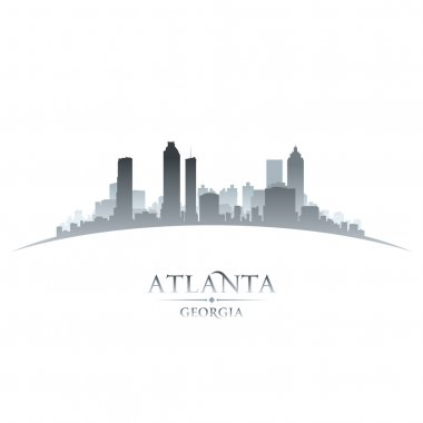 Atlanta Georgia city skyline silhouette white background