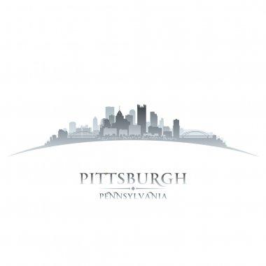 Pittsburgh Pennsylvania city skyline silhouette white background