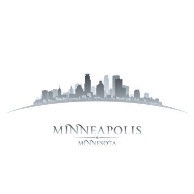 Minneapolis Minnesota city skyline silhouette white background