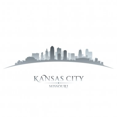 Kansas city Missouri skyline silhouette white background