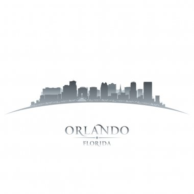 Orlando Florida city silhouette white background