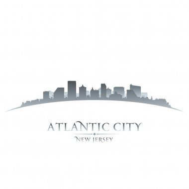 Atlantic city New Jersey skyline silhouette white background