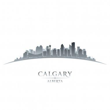 Calgary Alberta Canada city skyline silhouette white background
