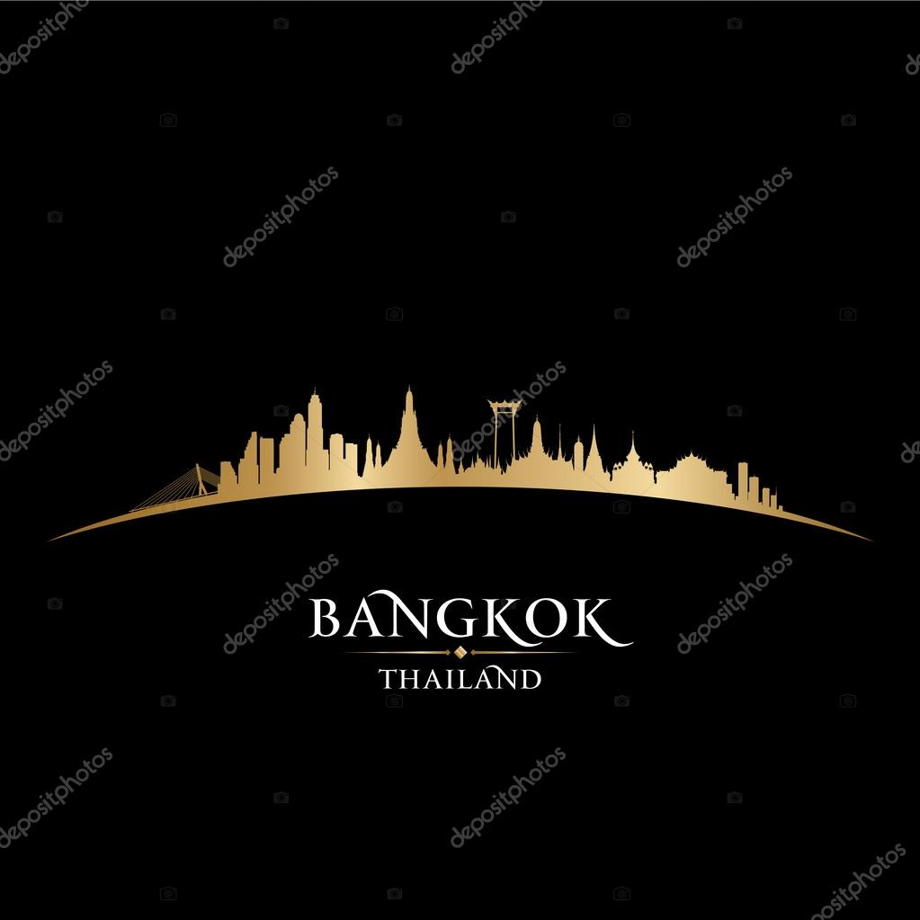 Bangkok Thailand city skyline silhouette black background