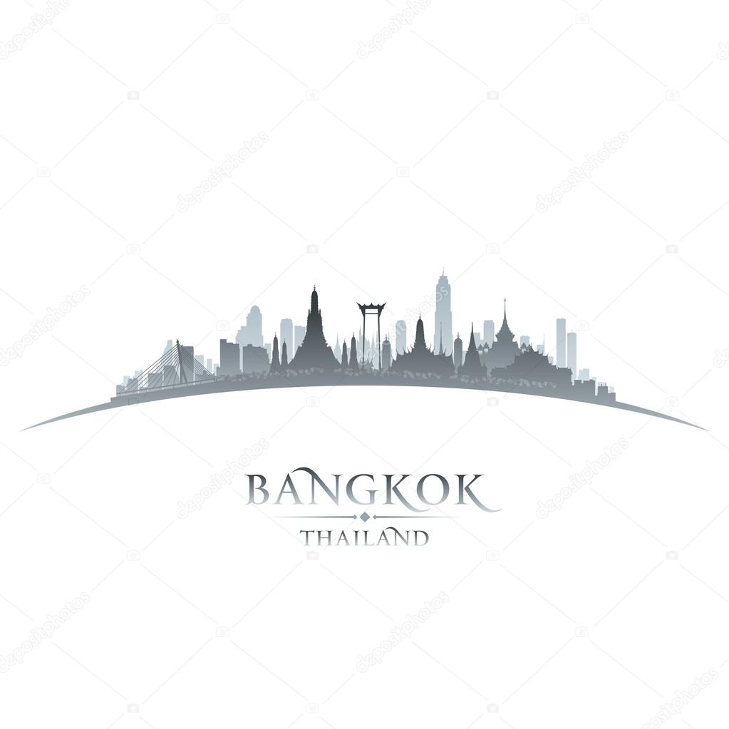 Bangkok Thailand city skyline silhouette white background
