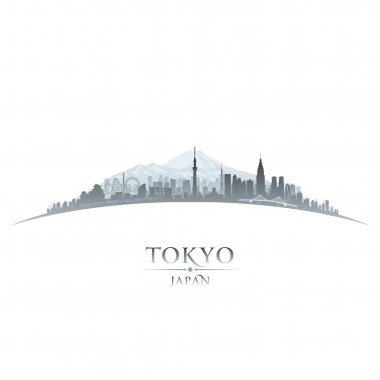 Tokyo Japan city skyline silhouette white background