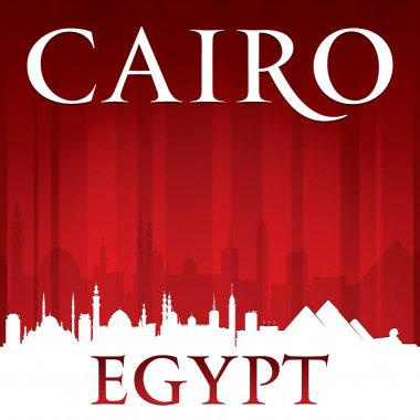 Cairo Egypt city skyline silhouette red background