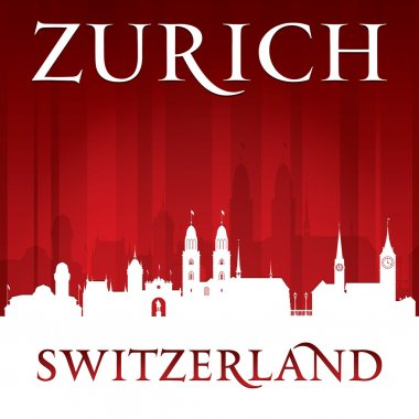 Zurich Switzerland city skyline silhouette red background