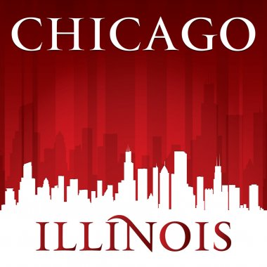 Chicago Illinois city skyline silhouette red background