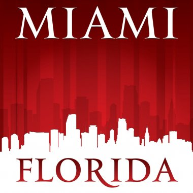 Miami Florida city skyline silhouette red background