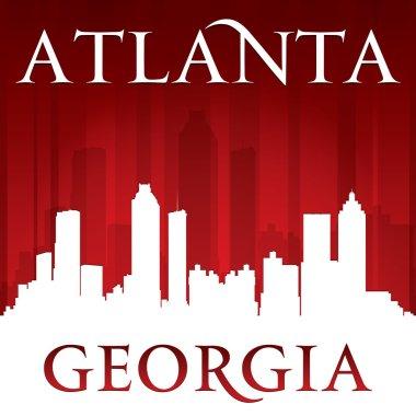 Atlanta Georgia city skyline silhouette red background