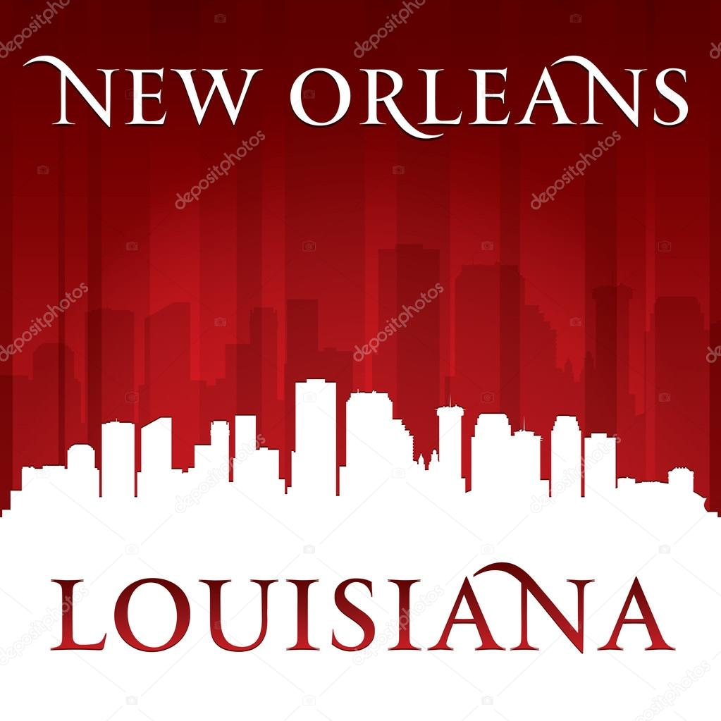 New Orleans Louisiana city skyline silhouette red ...