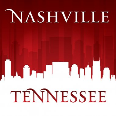 Nashville Tennessee city skyline silhouette red background