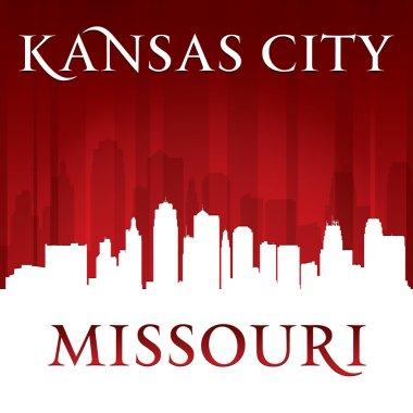 Kansas city Missouri skyline silhouette red background