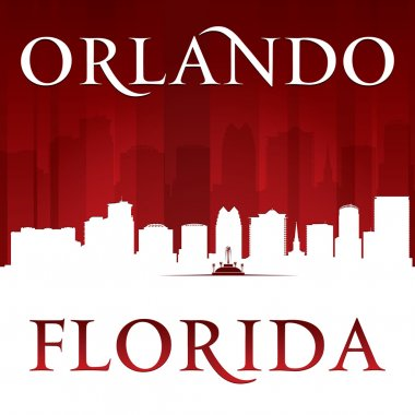 Orlando Florida city silhouette red background