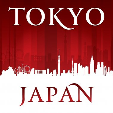 Tokyo Japan city skyline silhouette red background