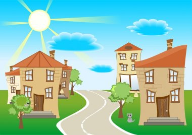 Vector illustration of a street a few houses, the road between the houses and pets on a background of blue sky and clouds. stock vector