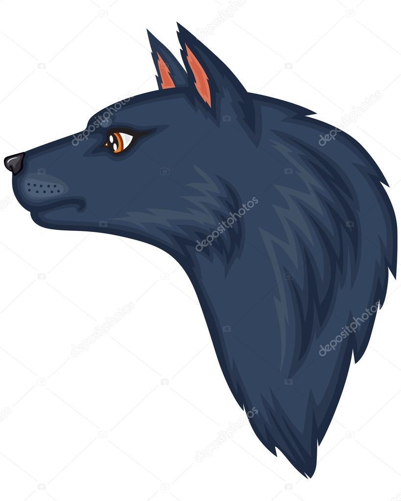 Cabeza De Lobo Perfil Cabeza De Lobo De Dibujos Animados Vector