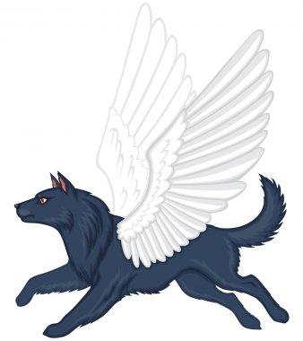 Mythical winged dog Simuran