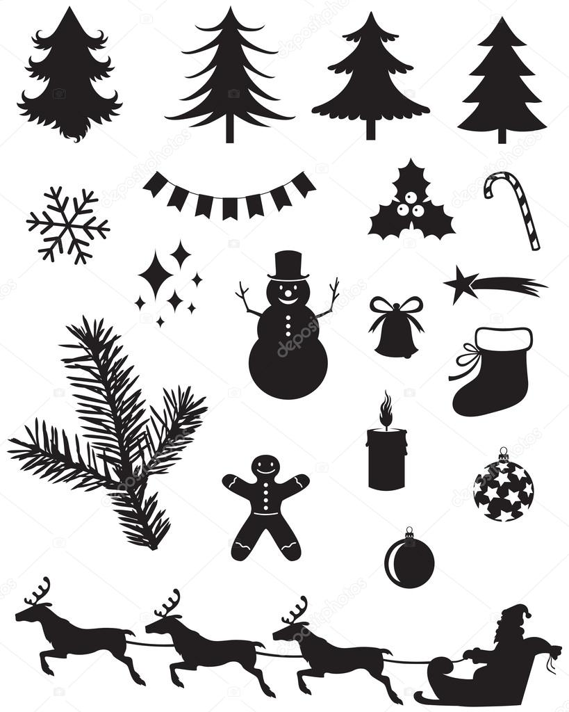 Weihnachten-Silhouetten — Stockvektor © agrino #15552469