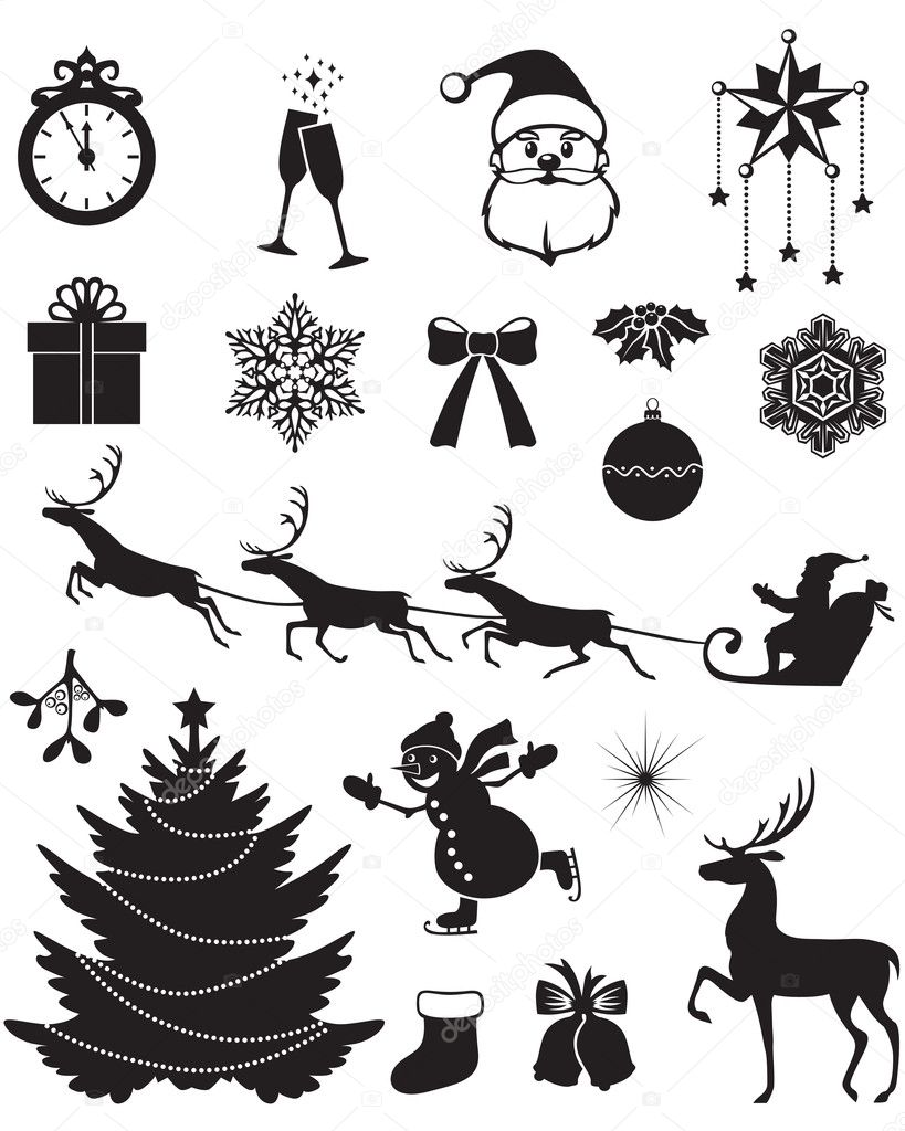 icon set weihnachten stockvektor agrino 16872689. Black Bedroom Furniture Sets. Home Design Ideas