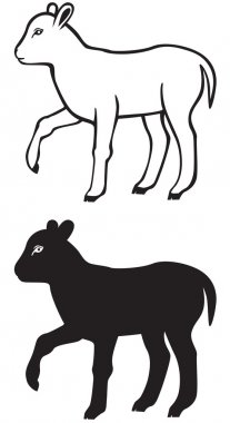 Contour and silhouette of a lamb