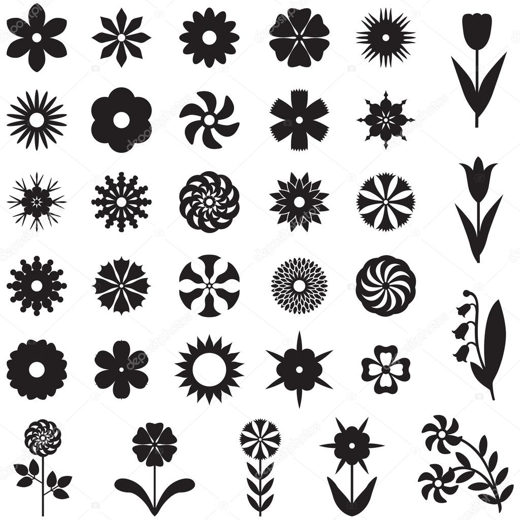 Set flower silhouette — Stock Vector © agrino