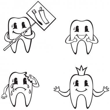 Set of cartoon dents